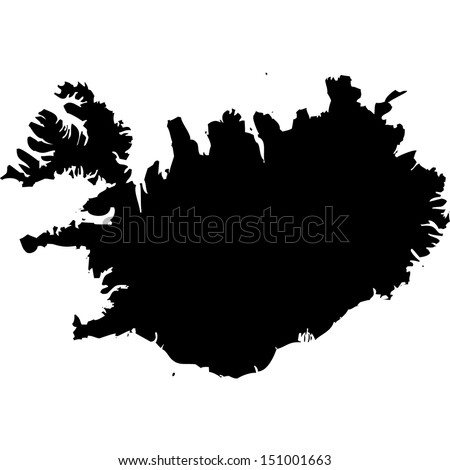 High detailed vector map - Iceland  - stock vector