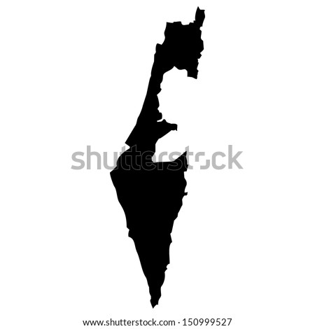 High detailed vector map - Israel  - stock vector