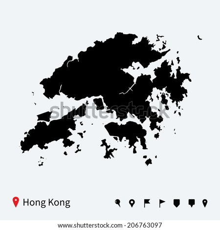 High detailed vector map of Hong Kong with navigation pins. - stock vector