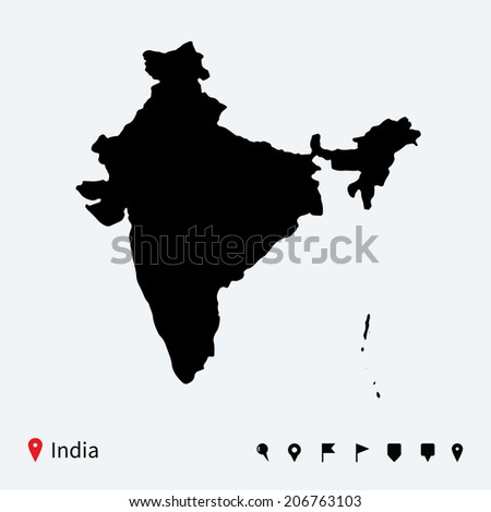 High detailed vector map of India with navigation pins. - stock vector