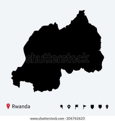 High detailed vector map of Rwanda with navigation pins. - stock vector