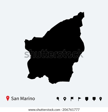 High detailed vector map of San Marino with navigation pins. - stock vector
