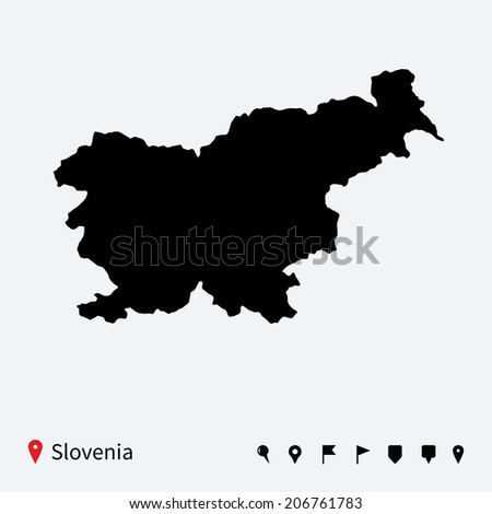 High detailed vector map of Slovenia with navigation pins. - stock vector