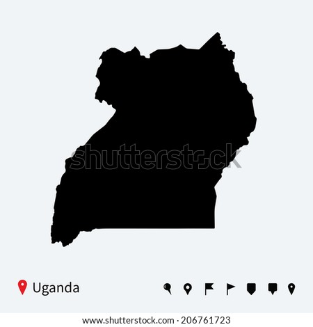 High detailed vector map of Uganda with navigation pins. - stock vector