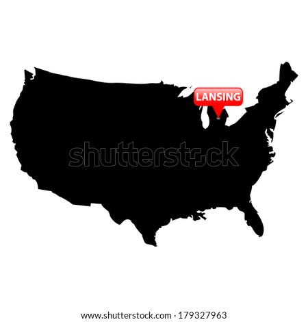 High detailed vector map over United States with the States Capital in red bubble - Lansing, Michigan  - stock vector