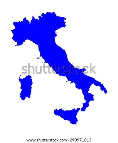 High detailed vector map silhouette - Italy isolated on white background. Outlined. - stock vector