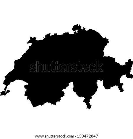High detailed vector map - Switzerland  - stock vector