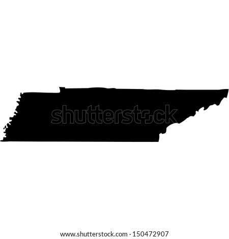High detailed vector map - Tennessee  - stock vector