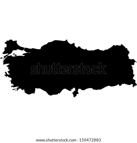 High detailed vector map - Turkey  - stock vector