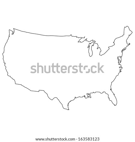 High detailed vector map - United States  - stock vector