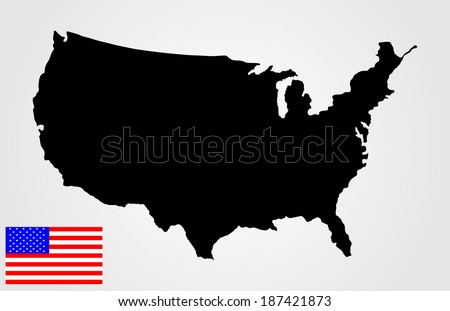 High detailed vector map - United States, black silhouette isolated on white background.  American flag vector under map. - stock vector