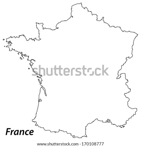 High detailed vector map with contour - France  - stock vector