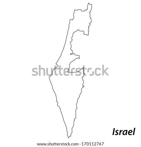 High detailed vector map with contour - Israel  - stock vector