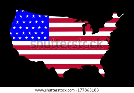High detailed vector map with flag - United States,  silhouette isolated on black background.  - stock vector