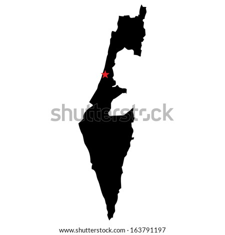 High detailed vector map with the capital city - Israel  - stock vector