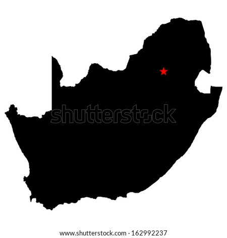 High detailed vector map with the capital city - South Africa  - stock vector