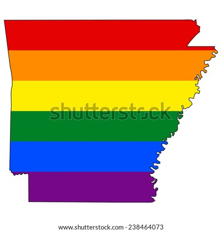 High detailed vector map with the pride flag inside - Arkansas - stock vector