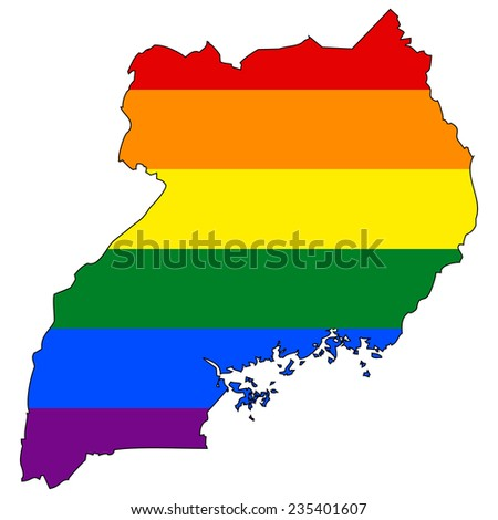 High detailed vector map with the pride flag inside - Uganda - stock vector