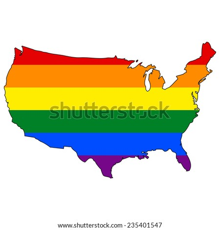 High detailed vector map with the pride flag inside - United States - stock vector