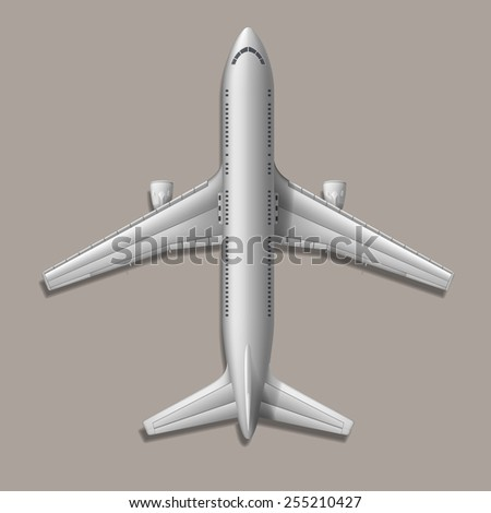 High-detailed vector plane, on grey background, EPS 10 - stock vector
