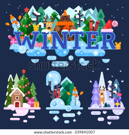 High-detailed winter lettering with interesting characters | winter isolated illustrations : snowman, deer, grizzly bear, skiing, Santa's hat. Flat vector stock illustration set. - stock vector