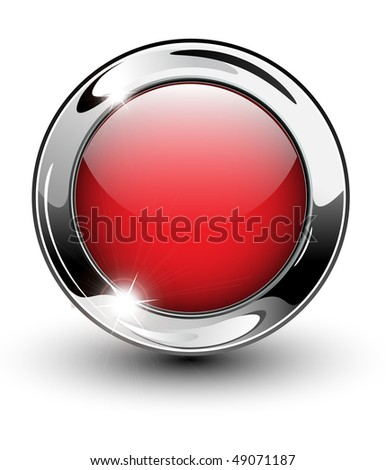 High glossy, beautiful blank web button with metallic chrome elements. - stock vector