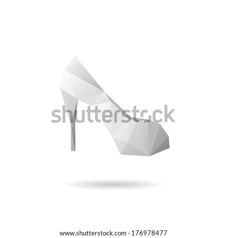 High heel shoes abstract isolated on a white backgrounds - stock vector