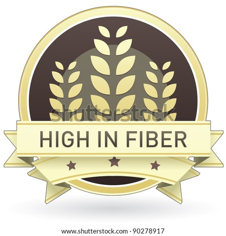 High in fiber food label, badge or seal with brown and tan color and wheat or grain emblem in vector style - stock vector