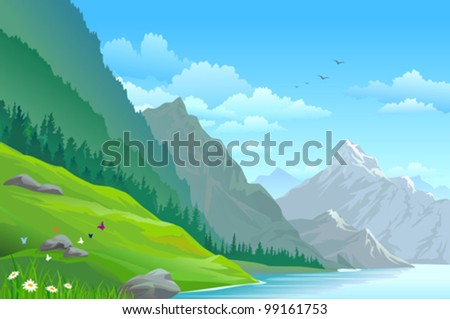 HIGH MOUNTAIN AND RIVER IN VALLEY - stock vector