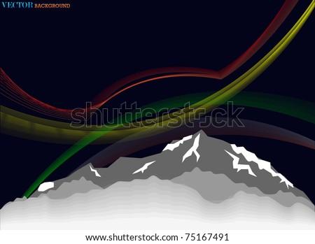 High mountain night abstract illustration - stock vector