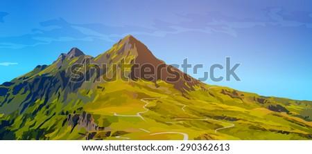 High mountains summer landscape. - stock vector