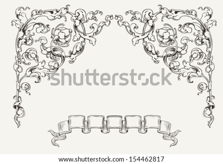 High Ornate Angles And Banner - stock vector