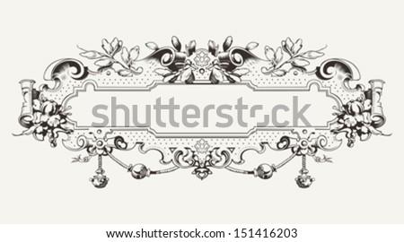 High Ornate Vintage Horizontal Banner - stock vector