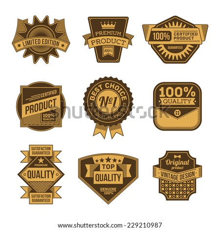 High quality assorted designs vector two colors vintage badges and labels set 3.  - stock vector