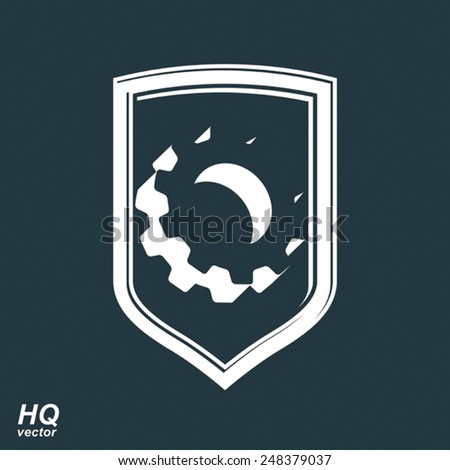 High quality 3d graphic gear symbol on a shield, heraldic escutcheon with an engineering design element. Engine component symbol, industrial cog wheel. Defense theme. - stock vector