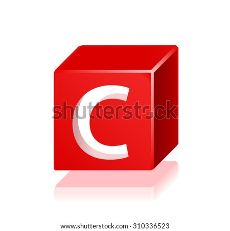 High Quality 3d Red Cube Letter C with Cavalier Perspective on White Background. - stock vector