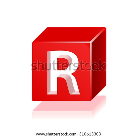High Quality 3d Red Cube Letter R with Cavalier Perspective on White Background. - stock vector