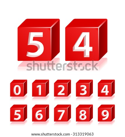 High Quality 3d Red Numbers with Cavalier Perspective on White Background. - stock vector