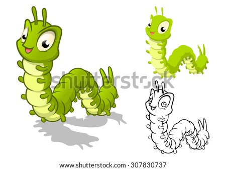 High Quality Detailed Caterpillar Cartoon Character with Flat Design and Line Art Black and White Version Vector Illustration - stock vector