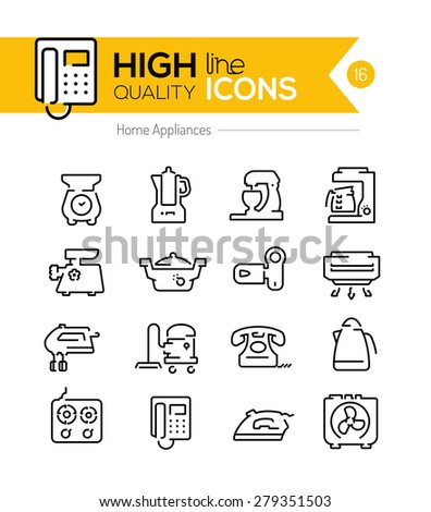 High Quality Home appliances line icons two - stock vector