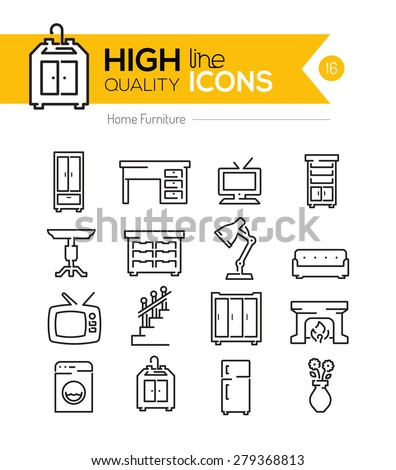 High Quality Home Furniture line icons three - stock vector