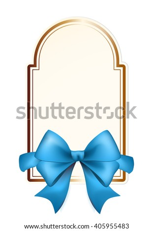 High Quality Label with Blue Bow on White Background. Vector Isolated Illustration. - stock vector