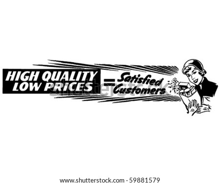 High Quality Low Prices - Ad Banner - Retro Clip Art - stock vector
