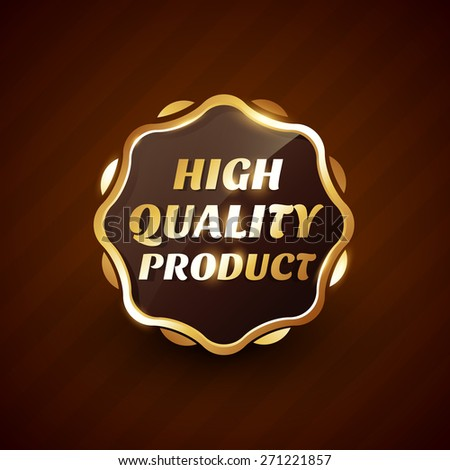 high quality product golden label design vector illustration - stock vector