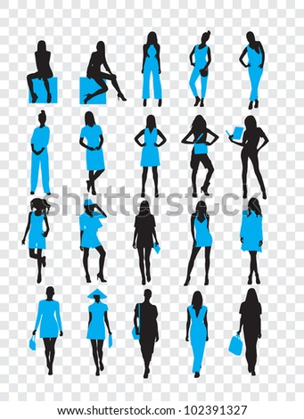 High quality traced posing silhouettes. Vector illustration - stock vector