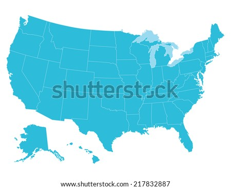 High quality United States map of America. Each city and border has separately, and can be colored as desired. - stock vector