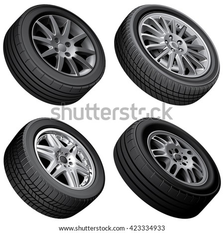 High quality vector bundle of automobiles alloy wheels, isolated on white background. File contains gradients, blends and transparency. No strokes. - stock vector