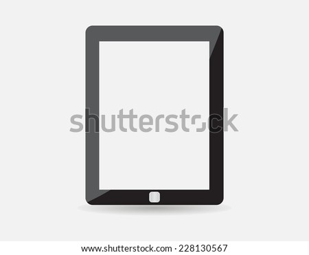 High quality vector illustration of modern technology device - computer tablet with blank white screen. vector realistic illustration. eps10 - stock vector