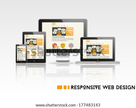 High quality vector illustration of responsive web design as seen on desktop monitor, laptop, tablet and smartphone, isolated on white background. - stock vector