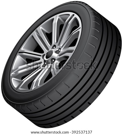 High quality vector image of alloy wheel with low-profile tire, isolated on white background. File contains gradients, blends and transparency. No strokes. - stock vector